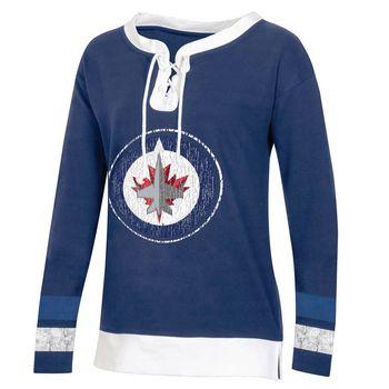 Women's Winnipeg Jets Long Sleeve Lace-Up Dark Blue Size S