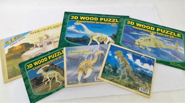 6 NEW 3D Wooden Puzzles & Construction Kit