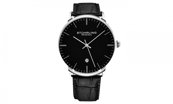 Stuhrling Men's Genuine Leather Dress Watch with Date $1545.99