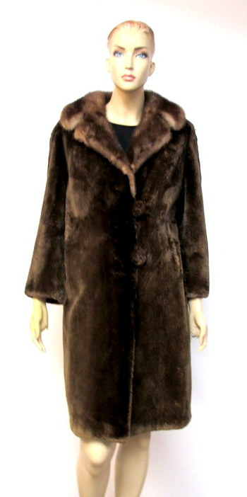 Vintage Women's Brown Sheared Lamb Coat with Mink Collar- Size Medium