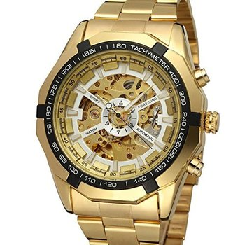 Men's Skeleton Automatic Golden Watch with Stainless Steel Bracelet Watch