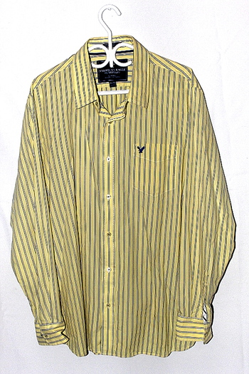 American Eagle Oufitters Vintage Fit Mens Sz XXL Button Up Long Sleeve Shirt Yellow Stripe Pre Owned