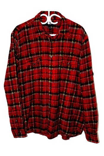 Oshkosh Mens Sz L Button Up Long Sleeve Flannel Shirt Red Green Pre Owned