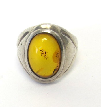 Vintage Sterling Silver and Amber Ring