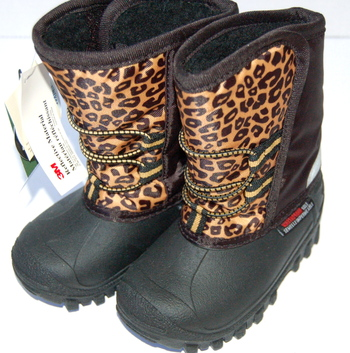 New With Tags Girls' Hook & Loop Winter Boots Black Cheetah Print Size Size 7