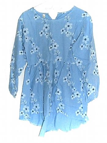 Ladies Floral Print Long Sleeve Blue Dress S