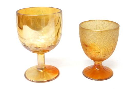 2 Vintage Marigold Carnival Glass Goblets