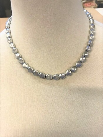 Necklaces Gray 20 Inches 10mm 12 Pieces Czechoslovakia