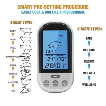 Digital LCD Wireless Remote Oven Food Cooking Meat BBQ Grill Thermometer
