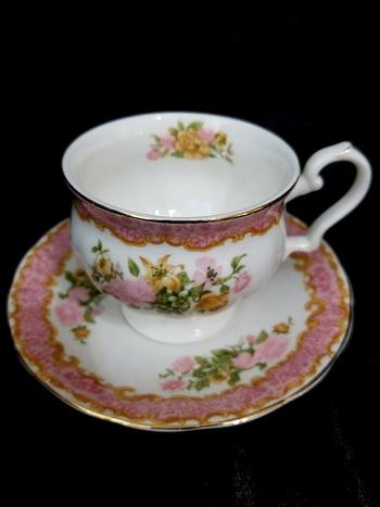 Vintage Royal Canterbury English Pink Bone China Tea Cup and Saucer
