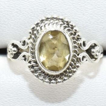 Sterling Silver Citrine Ring Sz 7