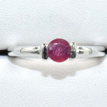 Sterling Silver Ruby Ring Sz 6.5