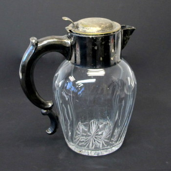 Crystal and Silver Plate Water Pitcher-Made in Germany US Zone 1945-1952