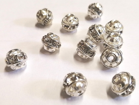 SPACERS- 10MM SILVER PLATED RHINESTONE SPACERS-1 DOZEN