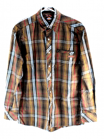 Dickies Mens Snap Button Down Long Sleeve Shirt S