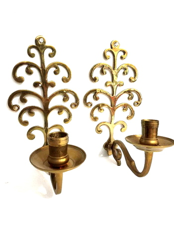Vintage solid Brass Wall Scones / Candle Holders