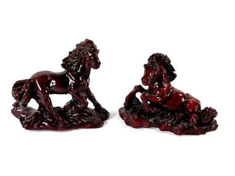 2 Hand Carved Horse Figurines