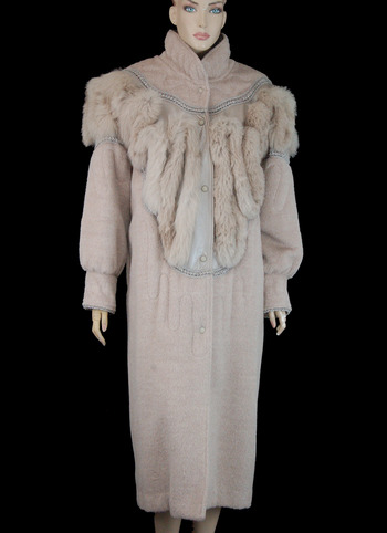 Women's Alpaca and Wool Mix Coat with Fox and Leather Trim- Size Large