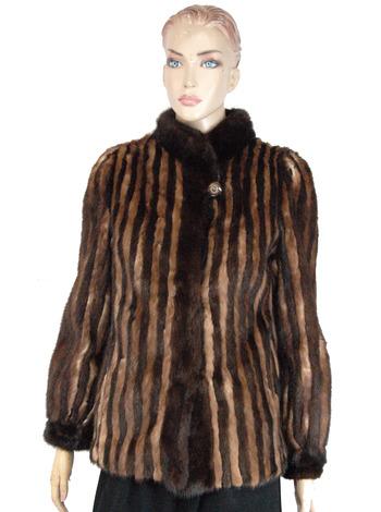 Women's Striped  Brown Mink Jacket-Size Small