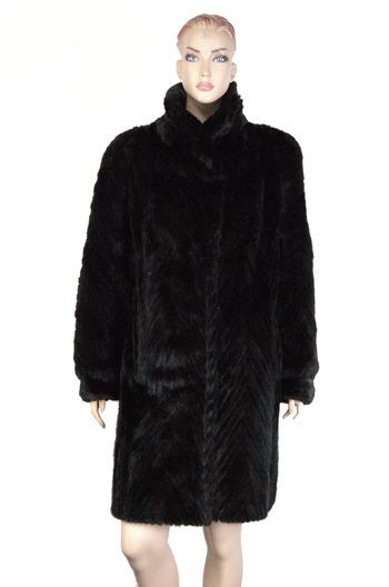 Women's Almost Black Chevron Mink Coat-Size Large