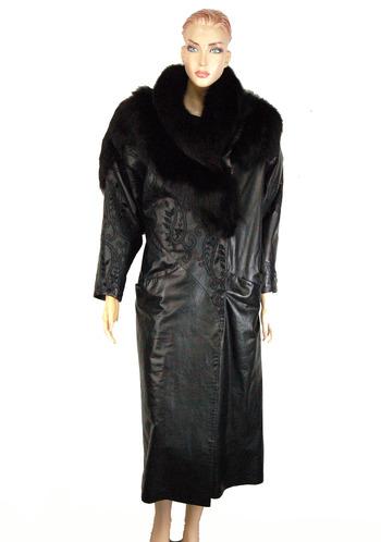 Women's Black Leather and Fox Coat -Size Small/Medium