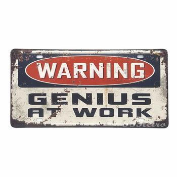 Warning Genius at Work License Plate