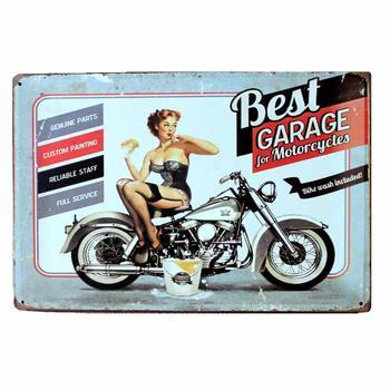 Retro Best Garage For Motorcycle Metal Sign