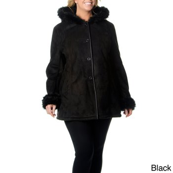 New Faux Fur  Excelled Shearling Coat with Hood Size 1X