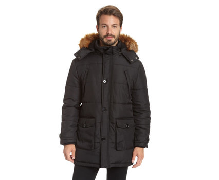 New Excelled Men's 3/4 Length Polyester Parka with Faux Fur Trim Removable Hood Size 2X-Large Great