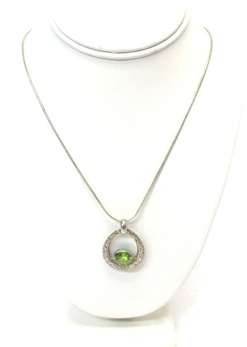 Vintage Sterling Silver Chain and Peridot Pendant