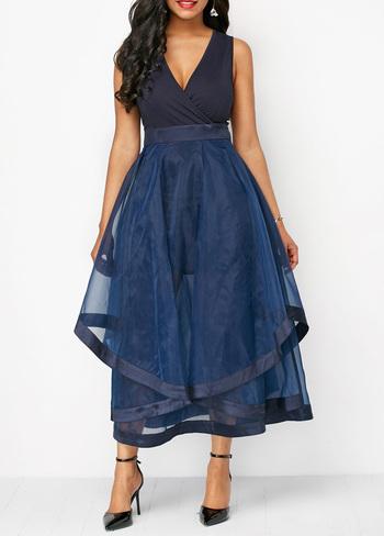 Mesh Panel V Neck High Waist Navy Dress XXL