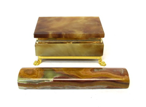 Vintage Onyx Marble Jewelry/Trinket Box and Paper Weight