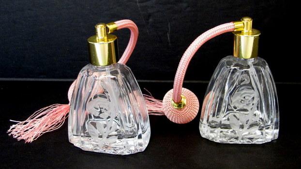 2 Vintage  Crystal Perfume Bottles with Atomizer