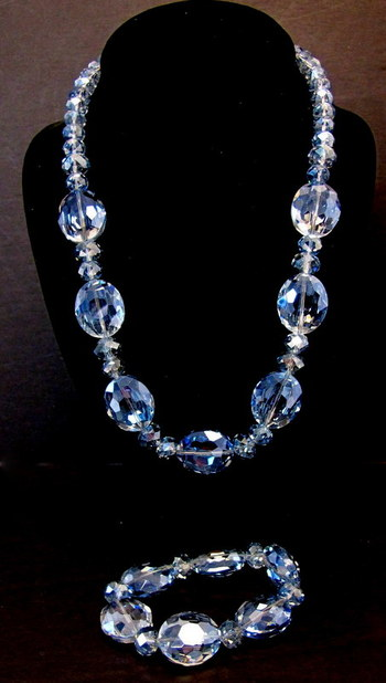 Vintage Very Light Blue Crystal Necklace and Bracelet