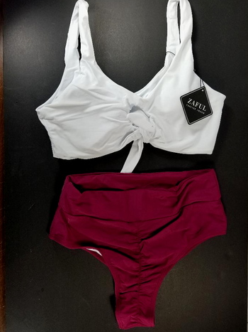 Knotted High Waisted Ruched Bikini Set - Purplish Red Size XL