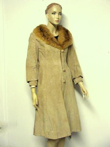 Women's Suede Leather Coat  XS