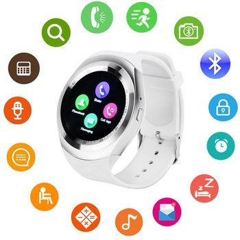 Round Android iOS Bluetooth Smart Watch Waterproof - White