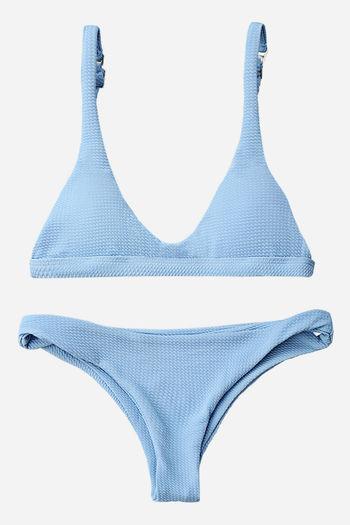 NWT Low Waisted Padded Scoop Bikini Set - Light Blue - Size M