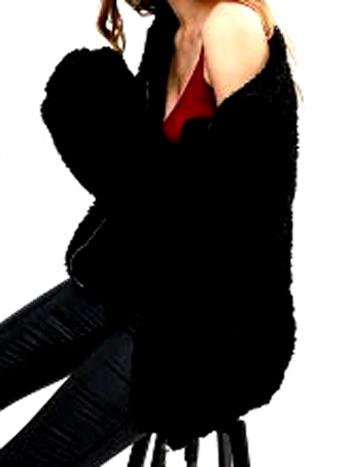 NWT Slip Pockets Faux Fur Teddy Coat - Black - Size M