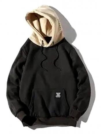 NWT Color-Blocking Letter Patch Detail Pouch Pocket Fleece Hoodie Black Size L