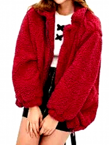 NWT Slip Pockets Faux Fur Teddy Coat Red Size M