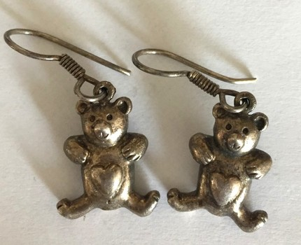Vintage Pair of Teddy Bear Sterling Silver Earrings