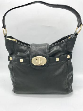 Michael by Michael Kors Turn Lock Medium Black Leather Shoulder Retail $390