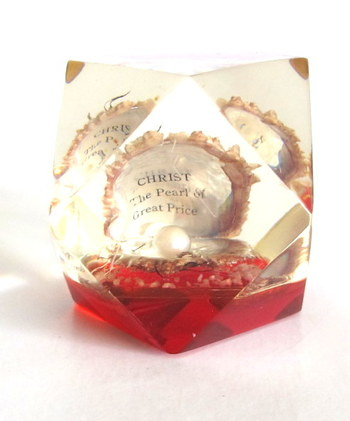"""""""CHRIST The Pearl of Great Price"""" Lucite Paperweight with Real Pearl and Shell"""
