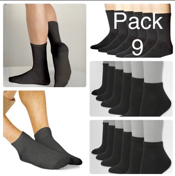 9 Pack Mens USA Sport Athletic Crew and Ankle Black Socks Size 10-13