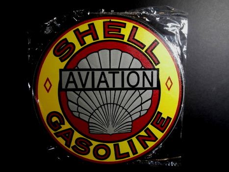 Shell Aviation Gasoline Round Metal Sign