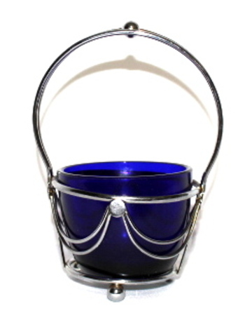 Cobalt Blue Glass Condoment Bowl in A Chrome Plate Holder
