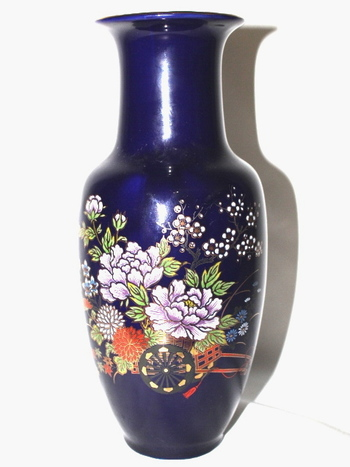 Large VTG Japan Hand Painted Porcelain Blue Vase