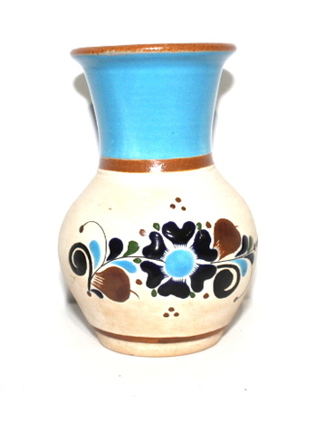 Hand Painted Mexico Pottery Vase Signed
