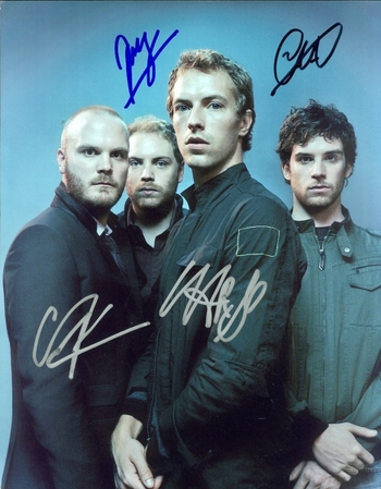 Coldplay Rock Band All 4 Members Signed Autographed 8x10 Photo w/coa $1500 Retail